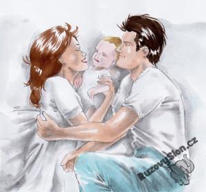 rodiče s dítětem v posteli