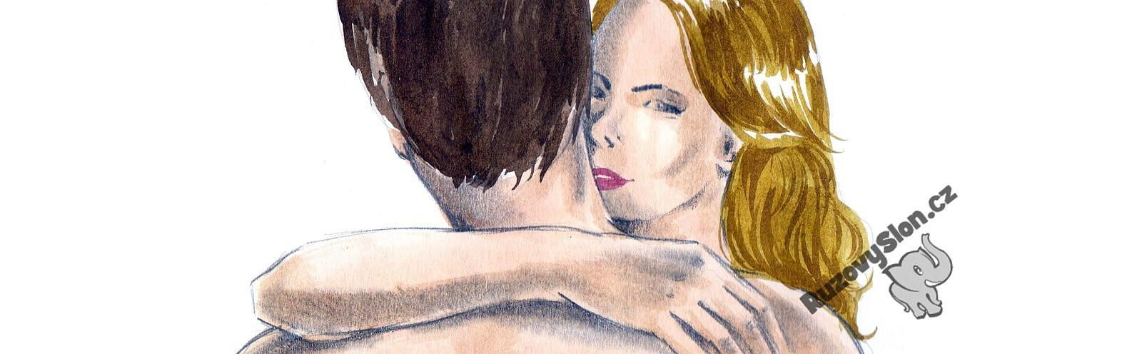 blondýna objímá muže