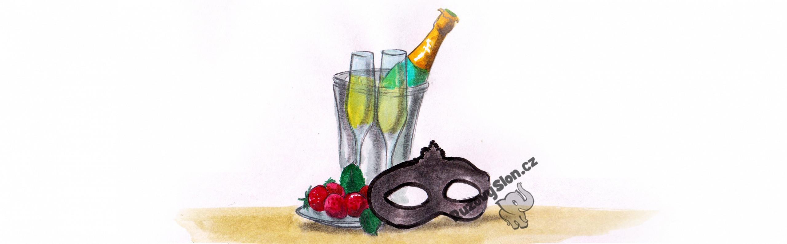 sekt, maska a jahody