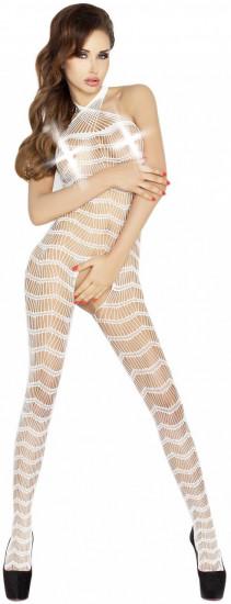 Síťovaný overal Wavy Stripes, bílý