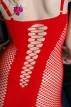 Minišaty s ramínky Fishnet, červené