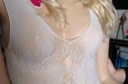 Overal s jemným motivem květin, bílý