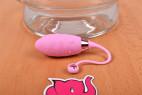 Bezdrátové vibrační vajíčko Pink Love, vedle misky s vodou
