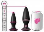 Vibrační anální kolík Smooth Fantasy, rozměry v porovnání s plechovkou