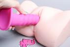 Silikónové dildo s prísavkou Hot Pink (18 cm), umělá vagína