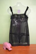 Košieľka Klára čierna s ružovou mašľou + tanga