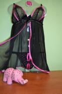 Košieľka Viktorie čierna s ružovou + tanga