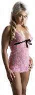 Košieľka Ružový sen s čiernou mašľou + tanga SM