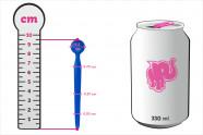 Silikonový dilatátor Blue Stick – rozměry v porovnání s plechovkou