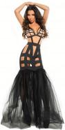 Čierne šaty Leia s nadýchanou sukňou + tanga