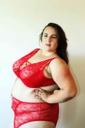 Plus size červený komplet Red Jane - testerka denca