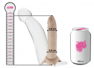 Připínací penis Dual Penetrator (15,3 cm), s plechovkou