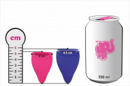 Menstruační kalíšky Fun Cup, Explore kit, porovnání rozměrů s plechovkou