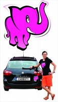 Samolepka na auto Růžový slon